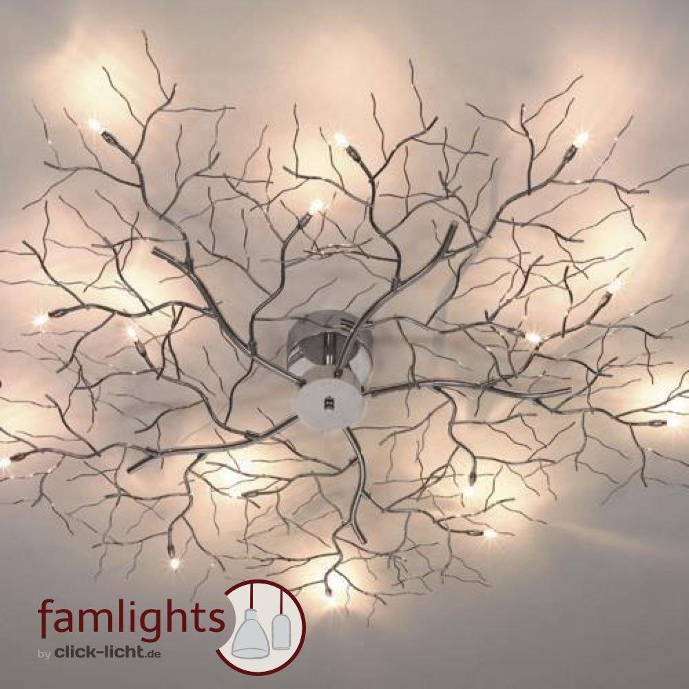 Famlights Designer-Deckenleuchte Äste, 1100 mm, chrom   Deckenlampe, modern