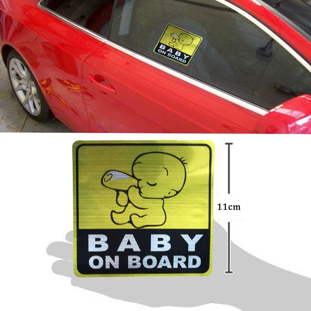 BABY ON BOARD Pegatina Reflexivo del coche 3 piezas Silence Shopping Pegatinas de la Se/ñal de Seguridad del coche Pegatina Gr/áfico del Veh/ículo del Beb/é