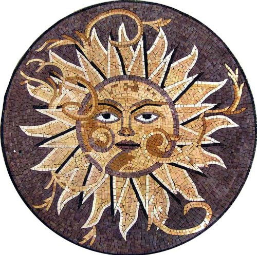 Tile Pool Art Wall (Marble Mosaic Sun Medallion Art Tile Floor / Wall, 24)