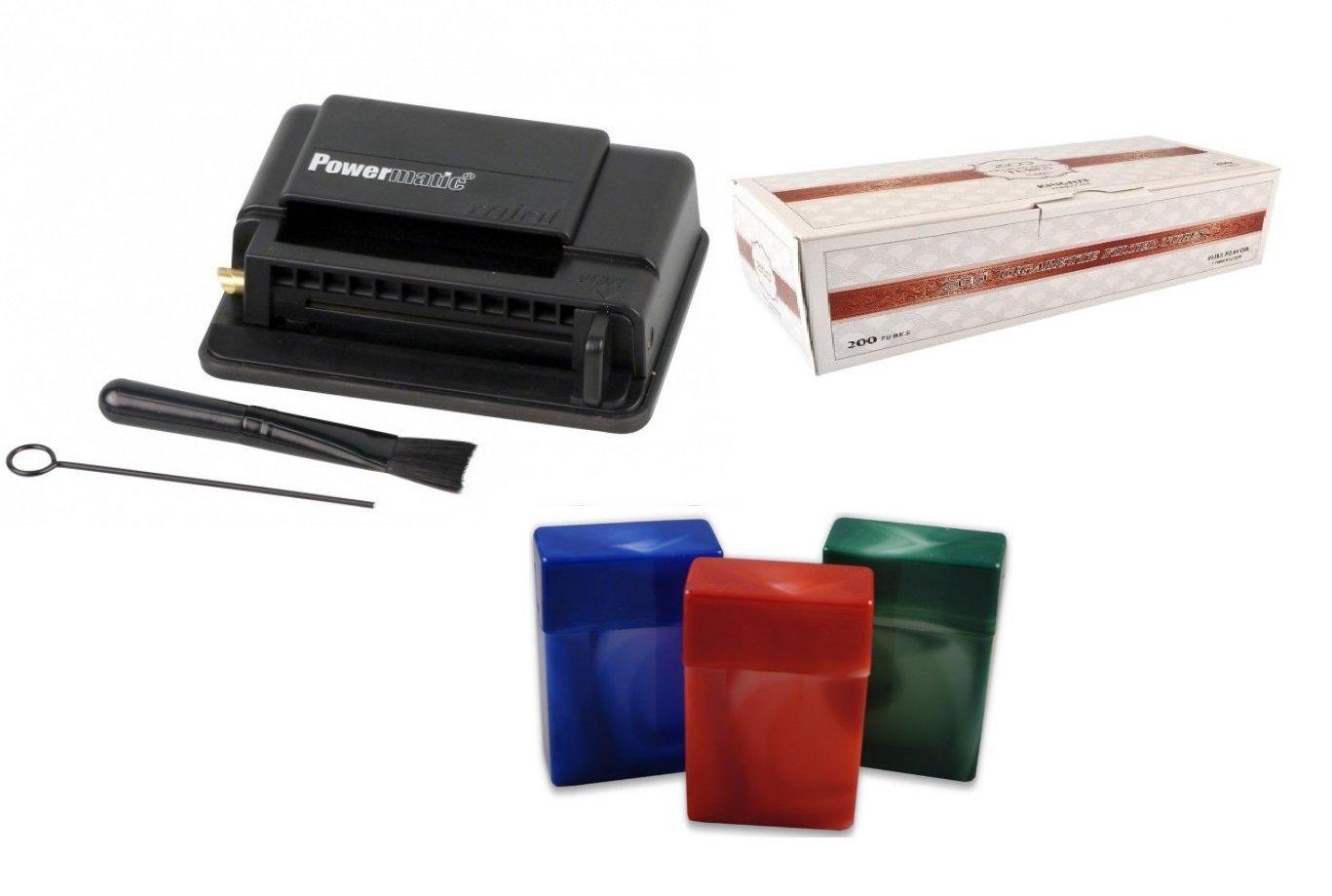 Powermatic Mini Black Cigarette Injector Machine + FREE Zico Tube, 3 pk Fess Cigarette Case by F.e.s.s. Products