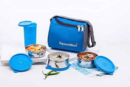d9995827bc25 Signoraware Best Steel Lunch Box Set of 4 (350ml+350ml+200ml) , Blue