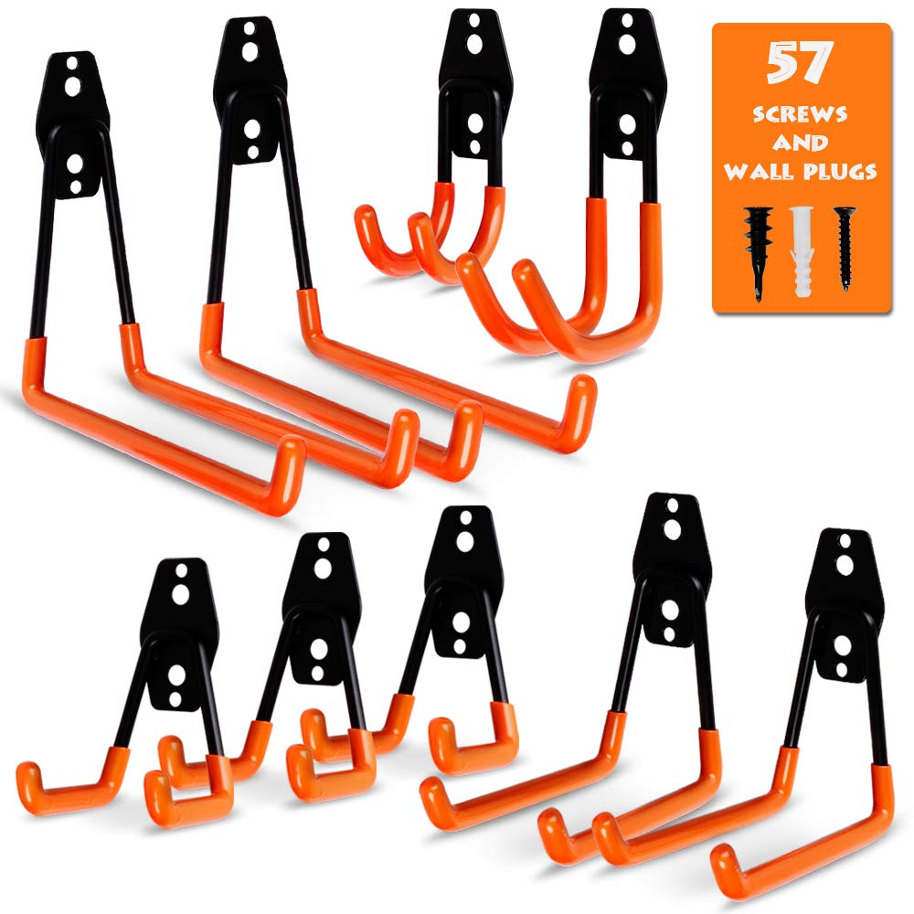 Garage Storage Utility Hooks, 9 Pcs Heavy Duty Hooks for Organizing Power Tools, Ladders, Bikes, Ropes, Bulk Items