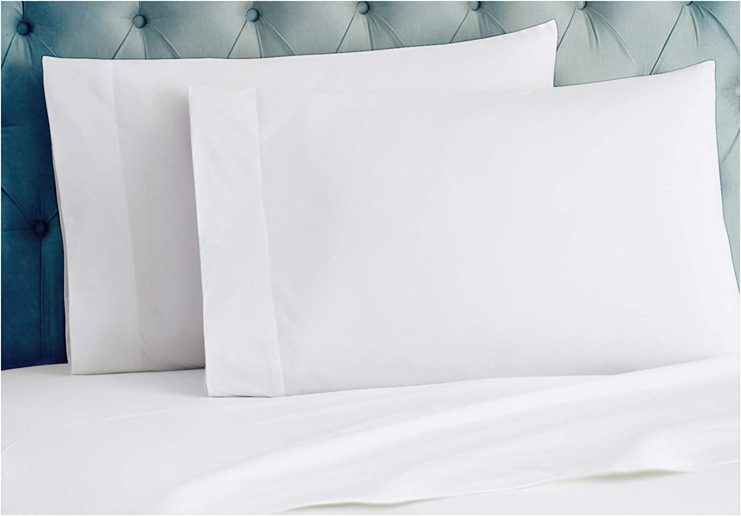 Tissaj King Size Pillow Covers - 2 Cases Set - Ultra White Color Color - 100% GOTS Certified Organic Cotton - 300 TC Thread Count - for Sleeping on Queen, King, California King Size Beds - 4 inch Hem