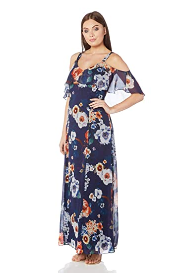 a2c70412aff Roman Originals Women Floral Cold Shoulder Chiffon Maxi Dress - Ladies  Chiffon Long Wedding Guest Holiday Cruise Occasion Summer Ascot Races Party  Outfits ...