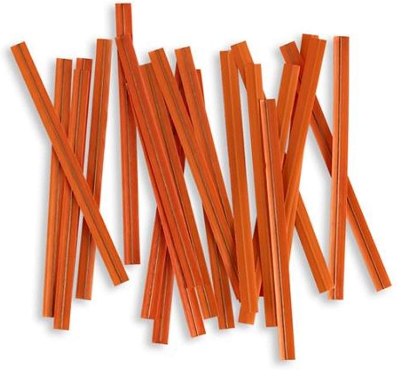 """100pcs Plastic/Paper Coated Orange 4"""" X 1/4"""" Twist Ties - Won't Rip or Pull Off"""
