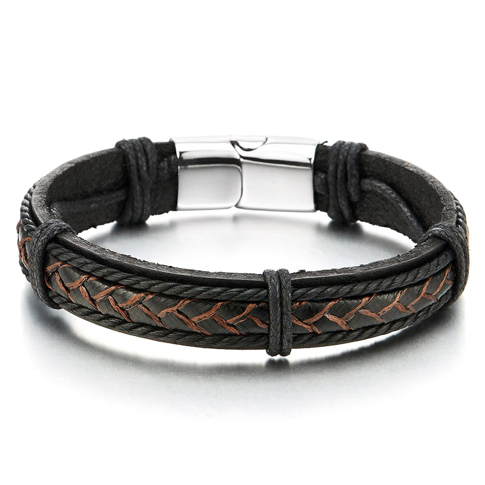 COOLSTEELANDBEYOND Black Braided Genuine Leather Bangle Bracelet for Men Women Wristband with Steel Magnetic Clasp