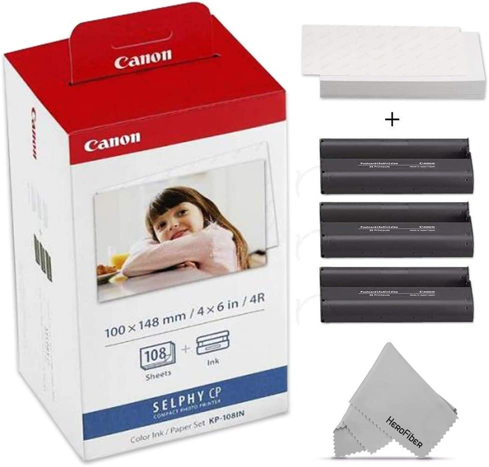 Canon KP-108IN / KP108 Color Ink Paper includes 108 Ink Paper sheets + 3 Ink toners for Canon Selphy CP1300, CP1200, CP910, CP900, cp770, cp760 Compact Photo Printers