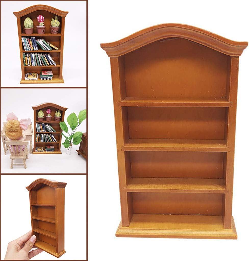 Karooch 1:12 Mini Wooden Bookcase Pretend Play Four Floors Bookshelf Toy Dollhouse Furniture Accessory Doll House Decoration Ornamental