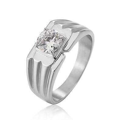 Taizhiwei diamante circonita titanio acero inoxidable anillos talla anillo compromiso boda matrimonio joyeria plata hombre: Amazon.es: Joyería