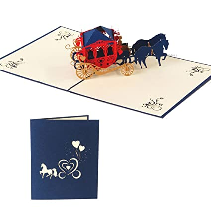 Amazon lays 3d christmas carriage greeting card handmade pop lays 3d christmas carriage greeting card handmade pop up cards for christmas birthday gift blue m4hsunfo