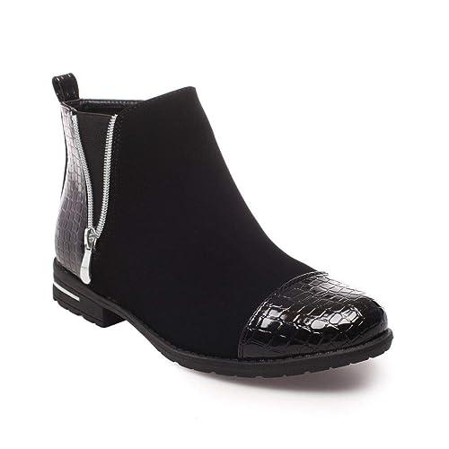 7409a04ccee La Modeuse - Boots bi-matière en Simili Daim et empiècement Vernis façon  Croco au Niveau du Talon et du Bout Arrondi  Amazon.fr  Chaussures et Sacs