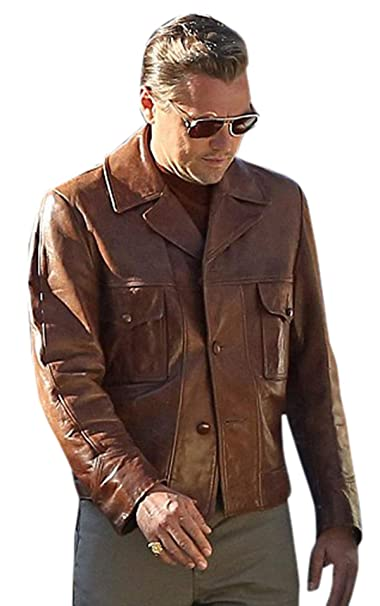 Rick Dalton Cosplay Costume PU Brown Jacket Pilot Jacket Coat