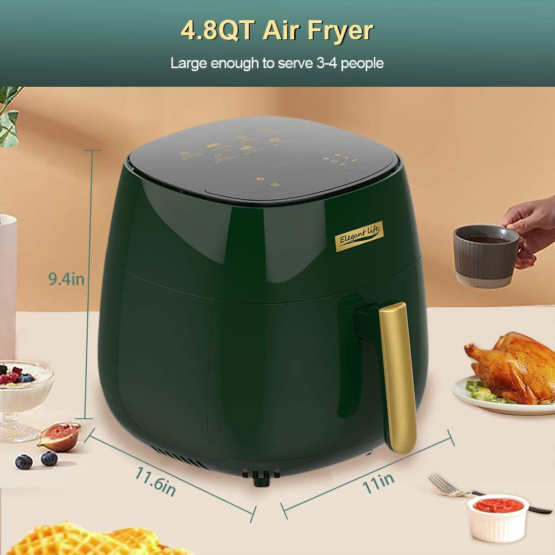 Nonstick Basket Oil Free Hot Cooker BPA/&PFOA Free Elegant Life 4.5 L Air Fryer Oil Free 7 in 1 with Recipes Cookbook 1400W LCD Touchscreen Air Oven Cooker