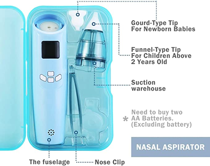 3 Levels Ximalay Baby Nasal Aspirator Blue Electric Nose Cleaner with LCD Screen and Light Safe Hygienic for Newborns and Toddlers 2 Sizes of Silicone Tips Music Colored Lights