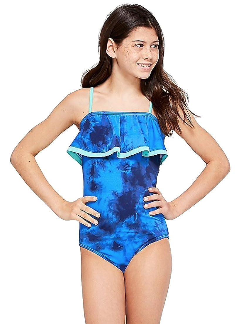 cd379cc9e Amazon.com: Justice Swim One Piece Lace up Flounce Rain Blue (6): Clothing