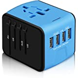 International Power Adapter, HAOZI All-in-one Universal Travel Adapter with 2.4A 4USB, Europe Multifunctional Power Adapter Wall Charger for UK, EU, AU, Asia Covers 150+Countries(Blue)