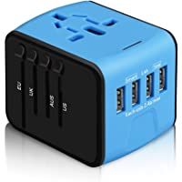International Power Adapter, HAOZI All-in-one Universal Travel Adapter with 2.4A 4USB, Europe Multifunctional Power Adapter Wall Charger for UK, EU, AU, Asia Covers 150+Countries