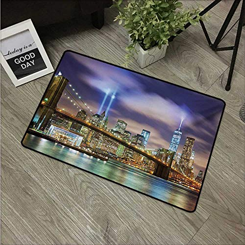 HRoomDecor Landscape,Carpets Doormat Manhattan Skyline with Brooklyn Bridge and Towers in NYC United States America W 31