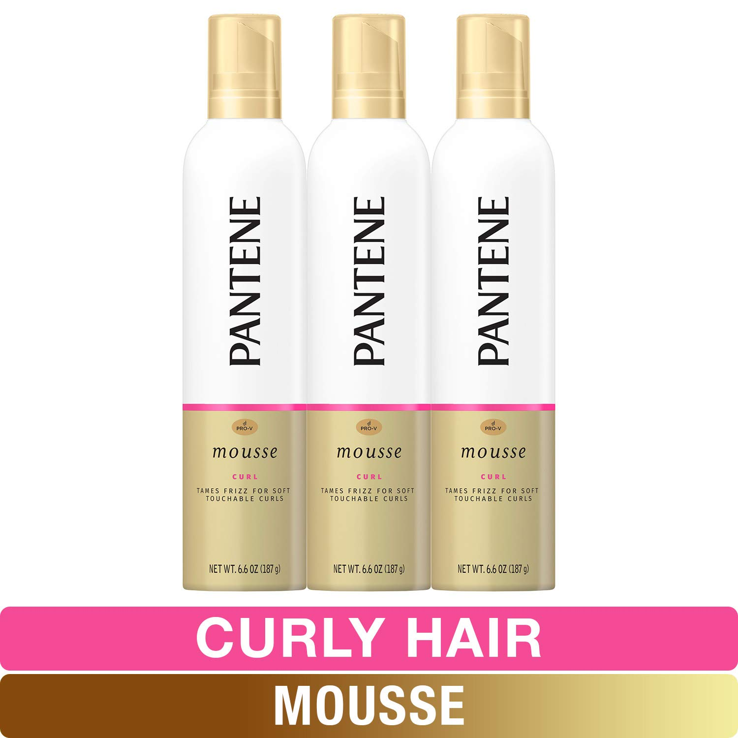 Pantene, Curl Mousse, Tame frizz for Soft Touchable Curls, Pro-V, For Curly Hair, 6.6 Ounce, Pack of 3
