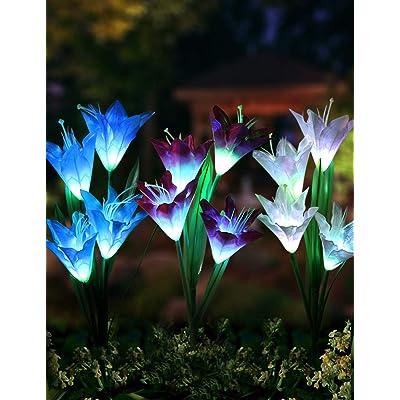Bright Zeal 3 Bundle 12 Lily LED Fairy Solar Garden Light with Color Changing Flower Lights - Multi Color Solar Lights Outdoor Garden LED Flower Waterproof - Solar LED Metal Flower Stake Lights