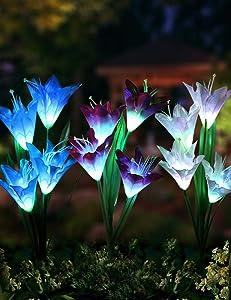 Bright Zeal Set of 3 Bundles Solar Garden Lily Flower Light Outdoor Waterproof (White, Purple, Blue) - LED Color Changing Solar Stake Light Garden Decor - Patio Light Solar Powered for Lawn, Garden