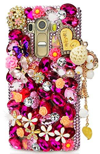 (STENES LG X Venture/LG X Calibur/LG V9 Case - 3D Handmade Luxury Crystal Heart Pendant Dance Butterfly Flowers Sparkle Rhinestone Design Cover Bling Case with Retro Bows Dust Plug - Pink)