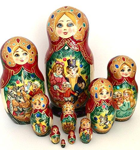 Nutcracker Russian Nesting doll Hand Painted 10 piece Fairy tale unique matryoshka art set