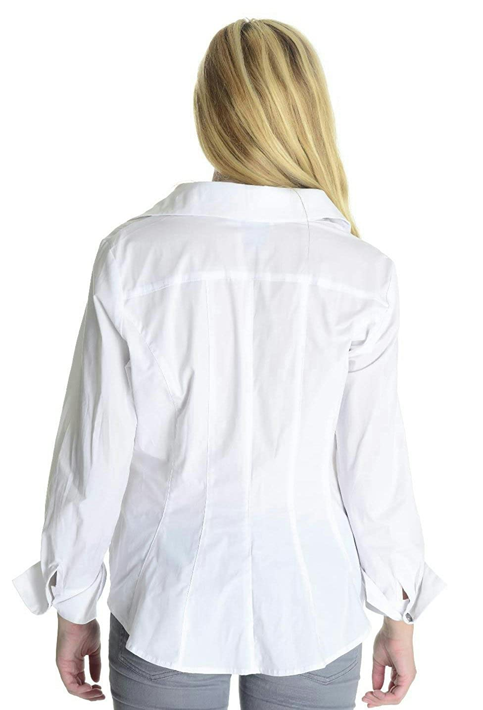 2fc4d560036d55 Bella Pelle Women's Crisp Stretch Cotton Button Down Collared Blouse,  White, Large at Amazon Women's Clothing store: