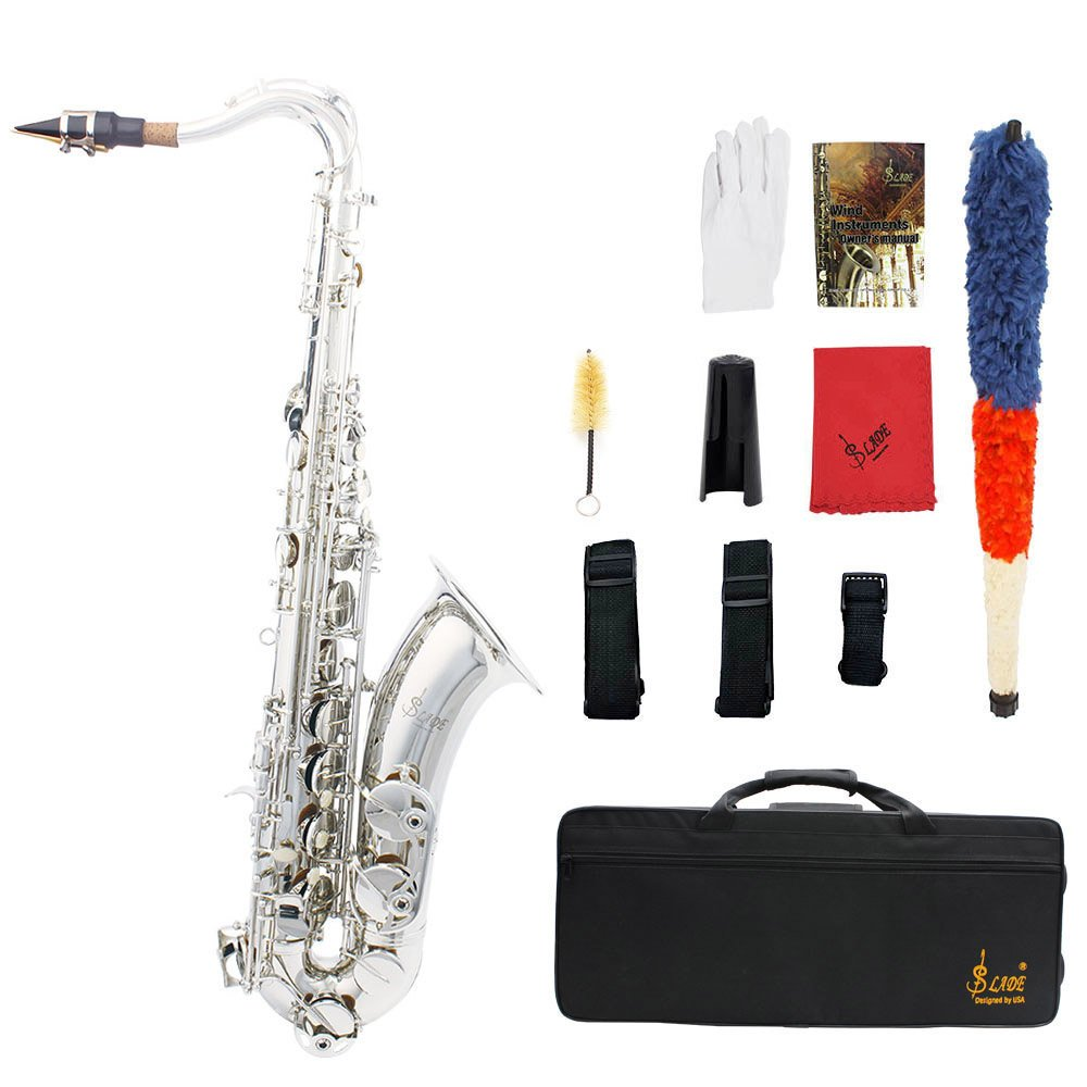 ammoon LADE Brass Bb Tenor Saxophone Sax Carved Pattern Pearl White Shell Buttons Wind Instrument with Case Gloves Cleaning Cloth Grease Belt Brush