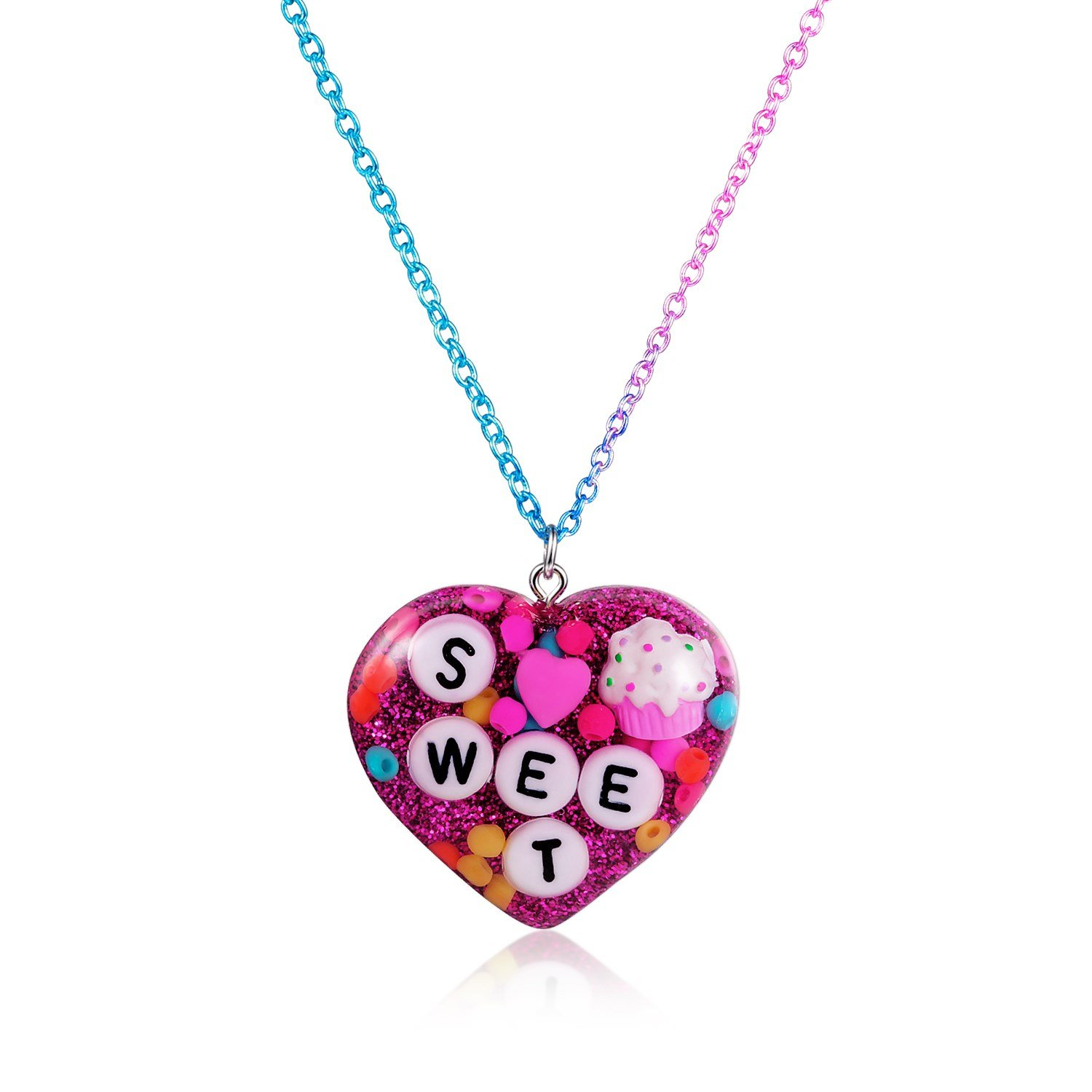Skywisewin Little Girls Jewelry Glitter Heart Necklace for Kids 02skywisewin