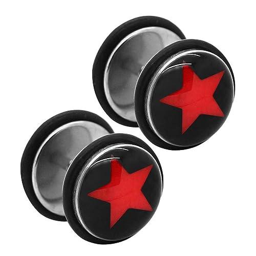 2 Plugs Falso Fakeplug Aretes Pendientes Piercing 10 mm sin dilatación Estrella: Amazon.es: Joyería