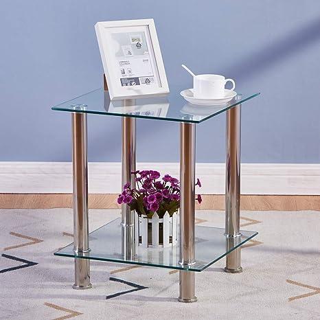 GOLDFAN Tavolino in Vetro Temprato con 2 Ripiani Vetro Trasparente Tavolo da Salotto Piazza Multifunzionale Design Moderno 39 * 39 * 47 cm
