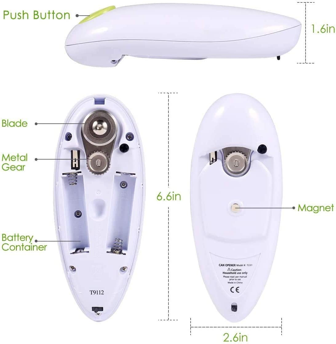 Best Electric Can Opener, Tin Opener with One Touch Switch, Hand Free Can Opener-Powerful, Safe & Easy(White) White