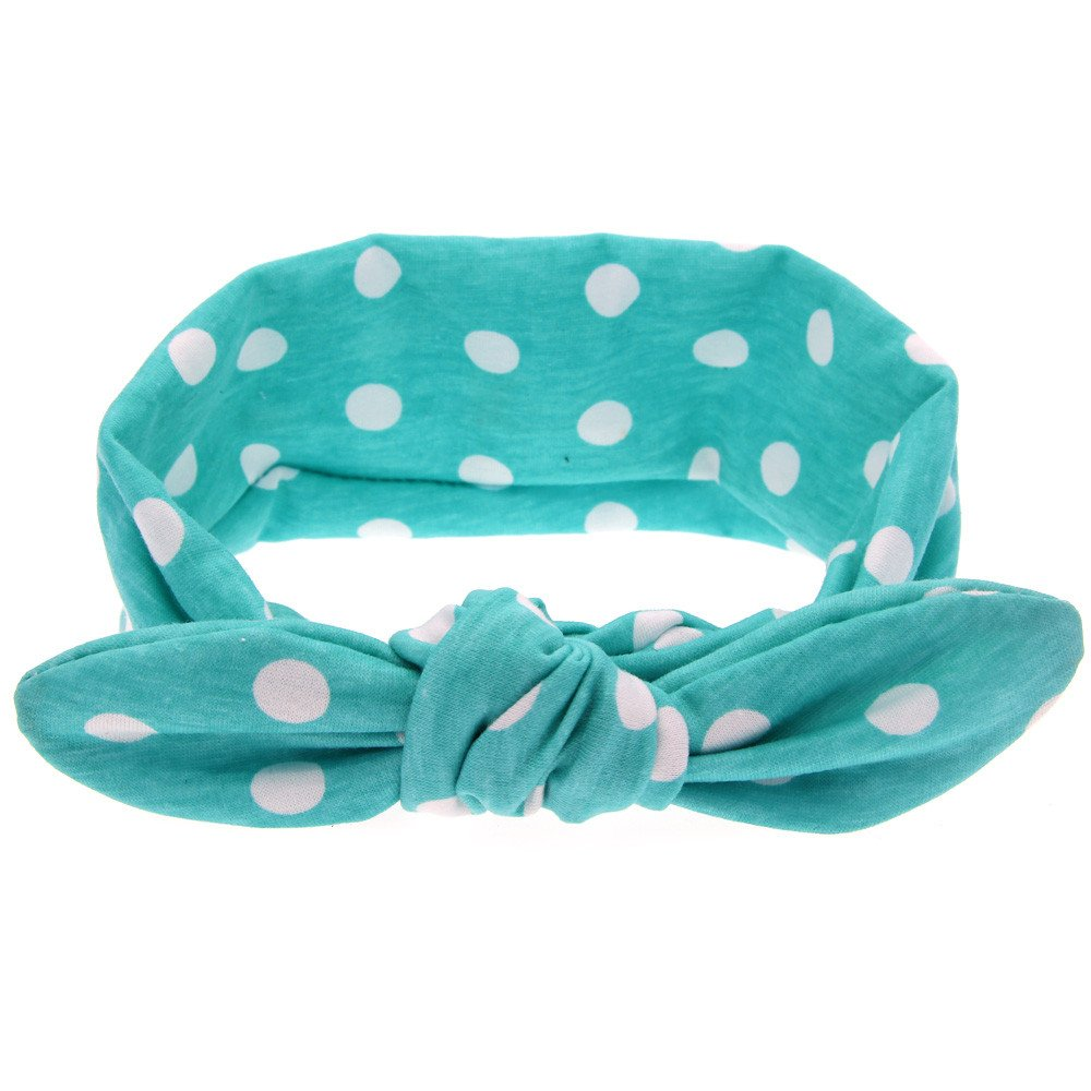 WUAI Baby Bowknot Headband Stretch Elastic Boys Girls Cute Catoon Rabbit Ears Wave Point Hair Band(Green 1,Free Size)