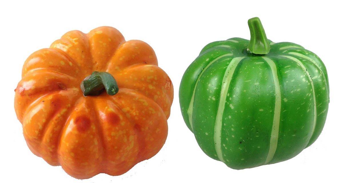 Deko mini K/ürbis 2 St/ück orange und gr/ün Kunstobst Kunstgem/üse k/ünstliches Obst Gem/üse Dekoration