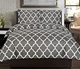 Utopia Bedding 3pc Printed Duvet Cover Set with 2 Pillow Shams (Queen, Grey)
