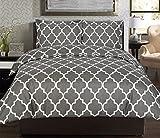 Utopia Bedding Printed Duvet Set - King Grey (King, Grey)