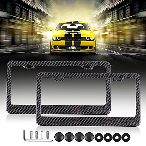 License Plates Frames Car Licenses Plate Covers Aluminum with Screw Caps 2 Pcs 2 Holes Black Powder Coated Plate Cover Frame Shield Combo ()
