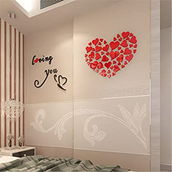 98 HEART DECALS LOVE Vinyl Car Stickers Wall Art All purpose Peel and Stick