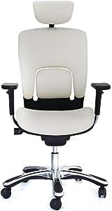 GM Seating Ergolux Genuine Leather Executive Hi Swivel Chair Chrome Base with Headrest, Snow White