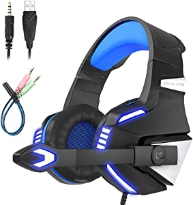 Mengshen Over Ear Gaming Headset - with Microphone, Noise Isolation, Volume Control, LED Light - Compatible with PS4/ Laptop/PC/Mac/Computer/Smartphones - G7500 Blue