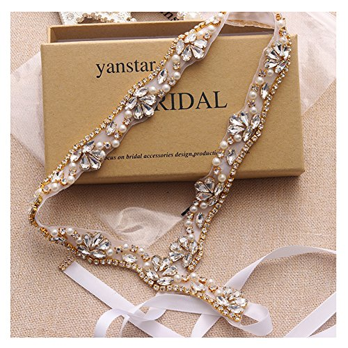 Yanstar Hand Gold Rhinestone Crystal Pearls Wedding Bridal Belts With Ivory Ribbon Sashes For Bridal Bridesmaid Gowns