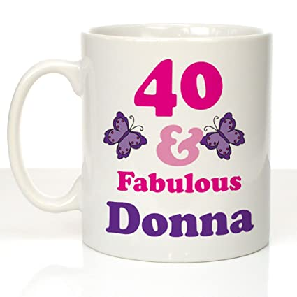 40 And Fabulous Personalised Mug 40th Birthday Gifts Presents For Her Amazoncouk Kitchen Home