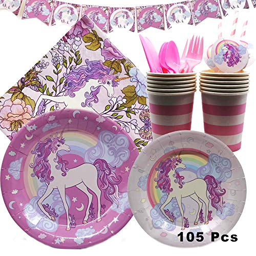 NEW Unicorn Birthday Party Supplies and Decorations -105 Piece Pack Girls Party Supply Set with Plates, Napkins, Cups, Cutlery and Decorations/Serves 12