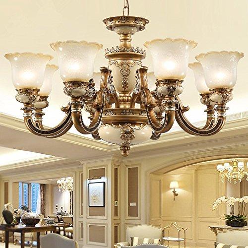 TYDXSD European lighting chandelier pendant lamp bedroom dining room living room lamp resin garden simple Western style retro atmospheric lighting wrought iron chandelier,C