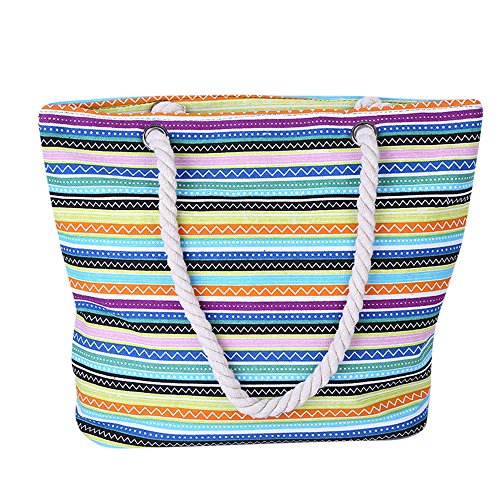 Girls Canvas White Summer Bag Bag Bag Picnic Shoulder Tote Stripe Shopping Bag Rope Bag Ladies Handle Beach Women Travel For with SearchI Yellow Red Large wXgdq1xqv