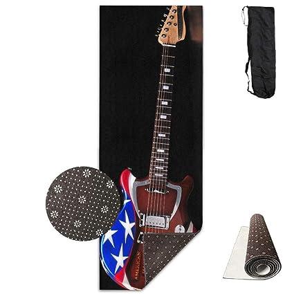 Vercxy - Esterilla de Yoga para Guitarra eléctrica, diseño de Bandera Estadounidense, Forro Antideslizante