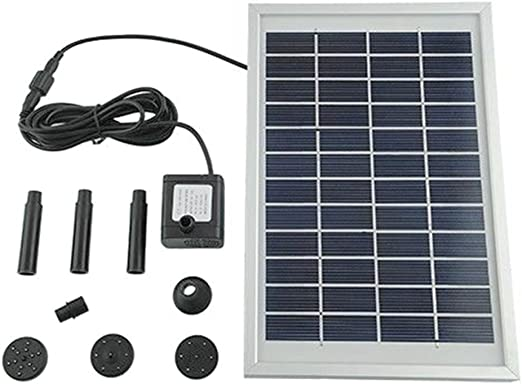 MVPower Solar Fuente Bomba, 5W Bomba de Agua Solar, 12V Bombas de Fuente, Bombas para Fuentes, Ideal para Baño de Pájaros, para de Decoración del Acuarios, Estanques y Jardines, 380L / H: