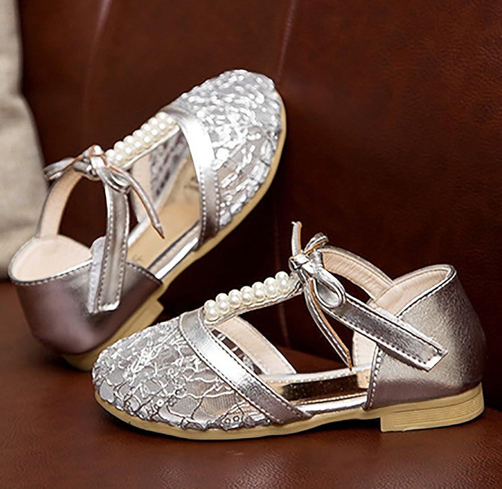 UBELLA Girls Lace Pearl T-Strap Closed Toe Sandal Princess Flat Shoes