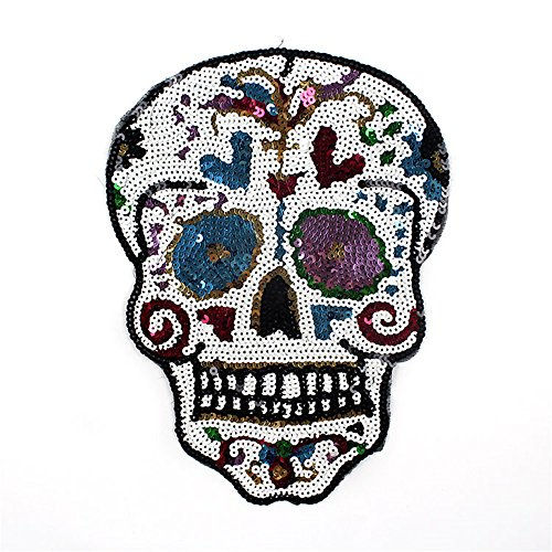 - HMQD Sequins 19x25cm West Coast Style Skull Iron On Patches For Clothes DIY T-Shirt Clothing Decoration